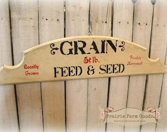 Prairie Farmhouse distresssed Grain feed and seed sign ECS RDT FVGteam
