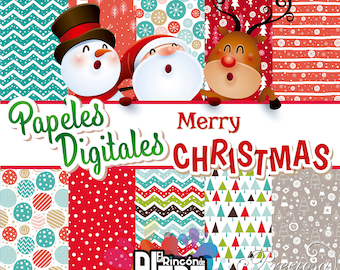 10 digital papers 12 x 12 Merry Christmas