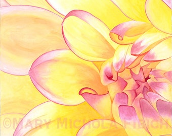 Fine Art Flower Giclée Print~Hand-Signed~Dahlia 'Happy Go Lucky'~Watercolor and Gouache Painting by Mary Michola Fibich