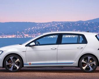 """Volkswagen Golf MK 7  lower panel door stripes vinyl graphics and decals kits """"Martini Racing"""""""