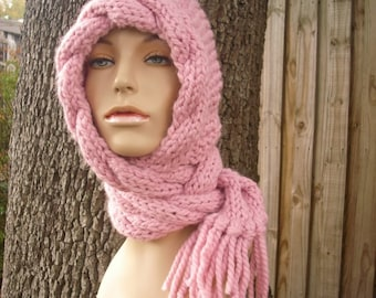 Knit Hat Womens Hat - Pink Cable Scarf Hat in Blossom Pink - Pink Hooded Scarf Knit Hat - Pink Hat Pink Hood Pink Scarf Womens