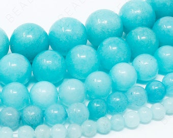 "Blue Aqua Amazonite Beads Natural Gemstone Round Loose - 4mm 6mm 8mm 10mm 12mm - 15.5"" Strand"