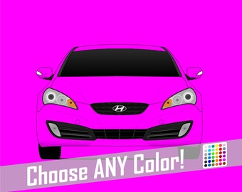 Hyundai Genesis Coupe Poster (Rear) // Colorful Car Posters