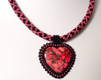 Beadwork Heart Necklace, Bead Embroidered Pendant, Bead Embroidery Necklace, Gifts for Her, Christmas Gift, Valentines Day, Birthday Gift