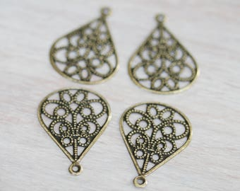 Antique Brass Filigree Connector Links