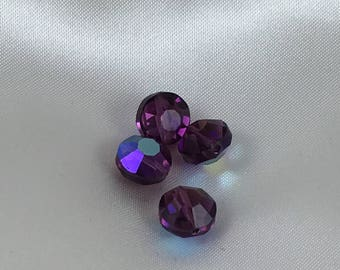 "Vintage Swarovski 8mm ""aspirin"" beads. Amethyst AB finish.  Article #5100, discontinued style.  Per bead."