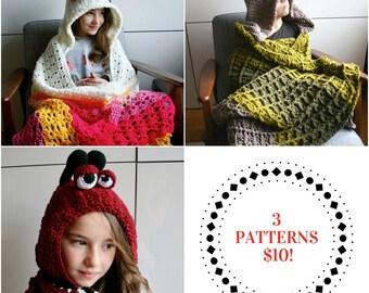 Crochet patterns SALE, 3 crochet blanket patterns, unicorn pattern, dinosaur pattern, ladybug blanket, afghan crochet INSTANT DOWNLOAD