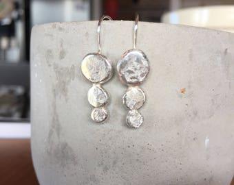 Sterling Silver Earrings, Hand Made, Jewellery, Jewelry, Girl Gift, Women Gift, Silver Hooks, Three Circle Hooks, Statement Jewelry, Teen