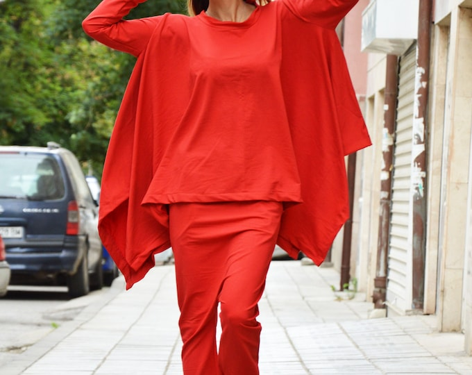 Woman Red Tracksuit, Drop Crotch Pants, Asymmetrical Cotton Blouse, Extravagant Sweatshirt, Maxi Set by SSDfashion
