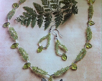 Peridot & Fairy Pendant Necklace and Earrings