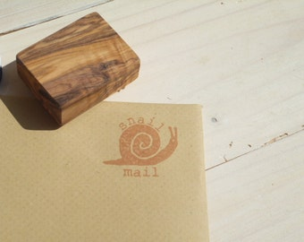 Large Snail Mail Olive Wood Stamp