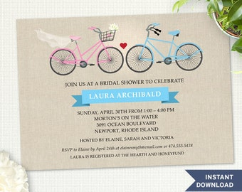 Bike wedding invitations printable etsy printable blue two bicycles love faux linen bridal wedding shower invitation template instant download editable filmwisefo Choice Image
