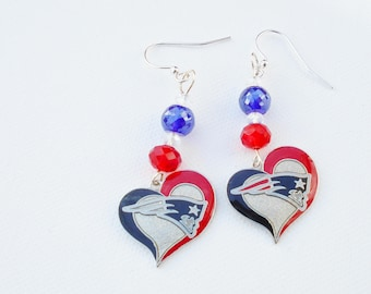 Patriots Heart Charm Earrings ONE OF A KIND