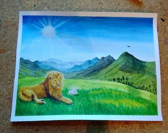 Lion and Lamb original painting