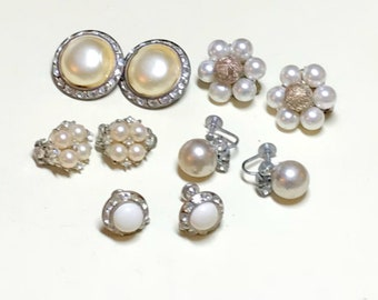 Five pairs of faux pearl earrings with rhinestones, rhinestone earrings, vintage earring lot, vintage jewelry lot 1950s-60s E84