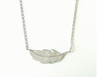 Feather Silver 925/000 - horizontal feather pattern 925 Silver necklace - adjustable size - feather necklace 925/000 silver necklace