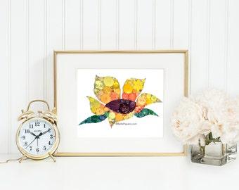 Sunflower Wall Art | Floral Decorations | Floral Nursery | Baby Girl Wall Art | Flower Decor | Stylized Flower | Baby Girl Wall Art