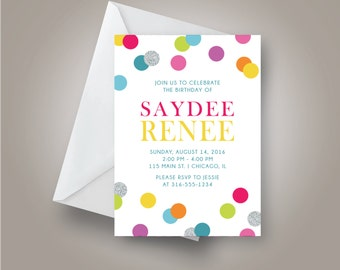 Rainbow Birthday Party Invitation, Rainbow Confetti Invitation, 5x7, Saydee Renee
