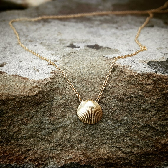 Gold Seashell Necklace Rose Gold Necklace 14K Gold Shell