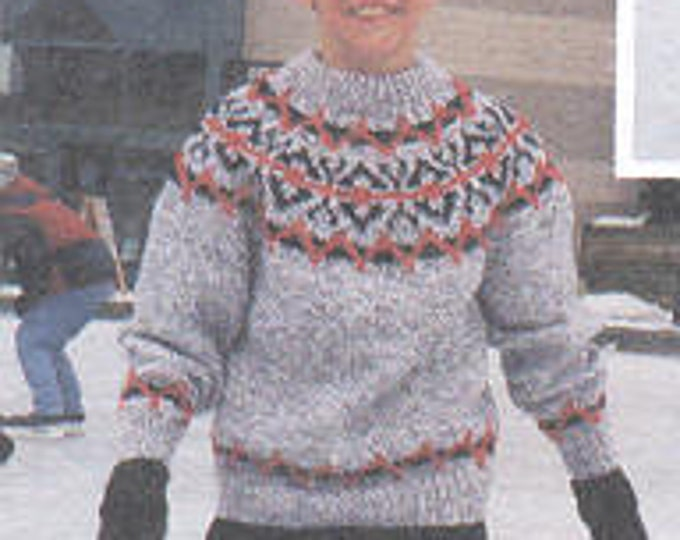 eweCanknit Pattern 208: Coltin's Fairisle pattern child's sizes 2-12 uses chunky yarn