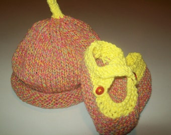 Yellow and Pink Blue Confetti Baby Hat and Booties Set Gift for Baby Gift for New Mom by hipknitta