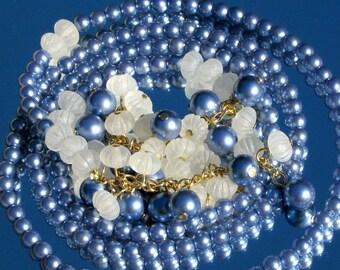 Vintage Necklace Flapper PearLs Lariet Statement Bakelite Era Bold Boho Chic Sautoir Lucite Blue Belt Cha Cha Mid Century Modernist Art Deco