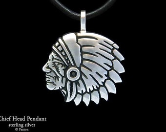 Chief Indian Head Pendant Necklace Sterling Silver