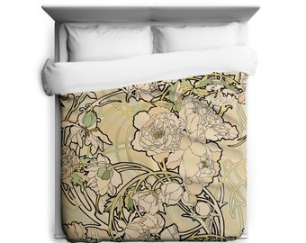 Peonies Alphonse Mucha Creme Floral Duvet Cover Art Nouveau- Made in USA