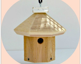 Bird House, Unique, 7 Sided, Wooden, Hanging Birdhouse, Quality Hand Made, Functional Outdoor, Wren House comes with clean out, Made in USA