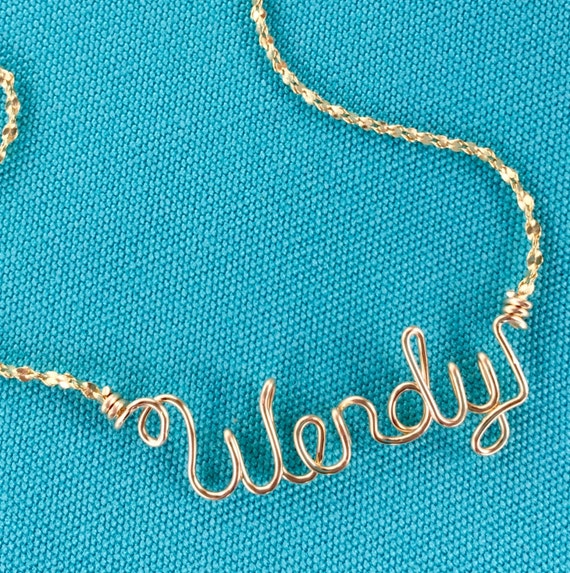 Personalized Jewelry Gold Wire Name Necklace or AnkletHeart