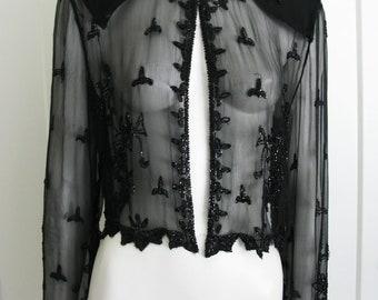 Vintage Black Silk Sheer Hand Beaded Top Open Jacket  With Long Sleeves Sz Small - Medium
