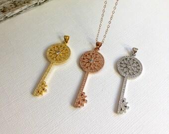 Rose Gold CZ Key Necklace, Gold CZ Key Pendant Necklace, Silver CZ Key Necklace, Wedding Jewelry, Key to my heart,