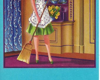 Vintage Stecher-Traung-Schmidt Broom Label with Woman Holding Broom, 1930's