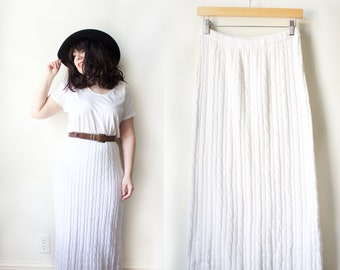 Vintage 90s White Cable Knit Maxi Skirt Size Small