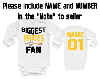BIGGEST Pirates - Pittsburgh fan, MLB, Baby Vest Baby Bodysuit Funny Baby Child One Piece boy's girl's Clothing girl Kid's Shower Bodysuits