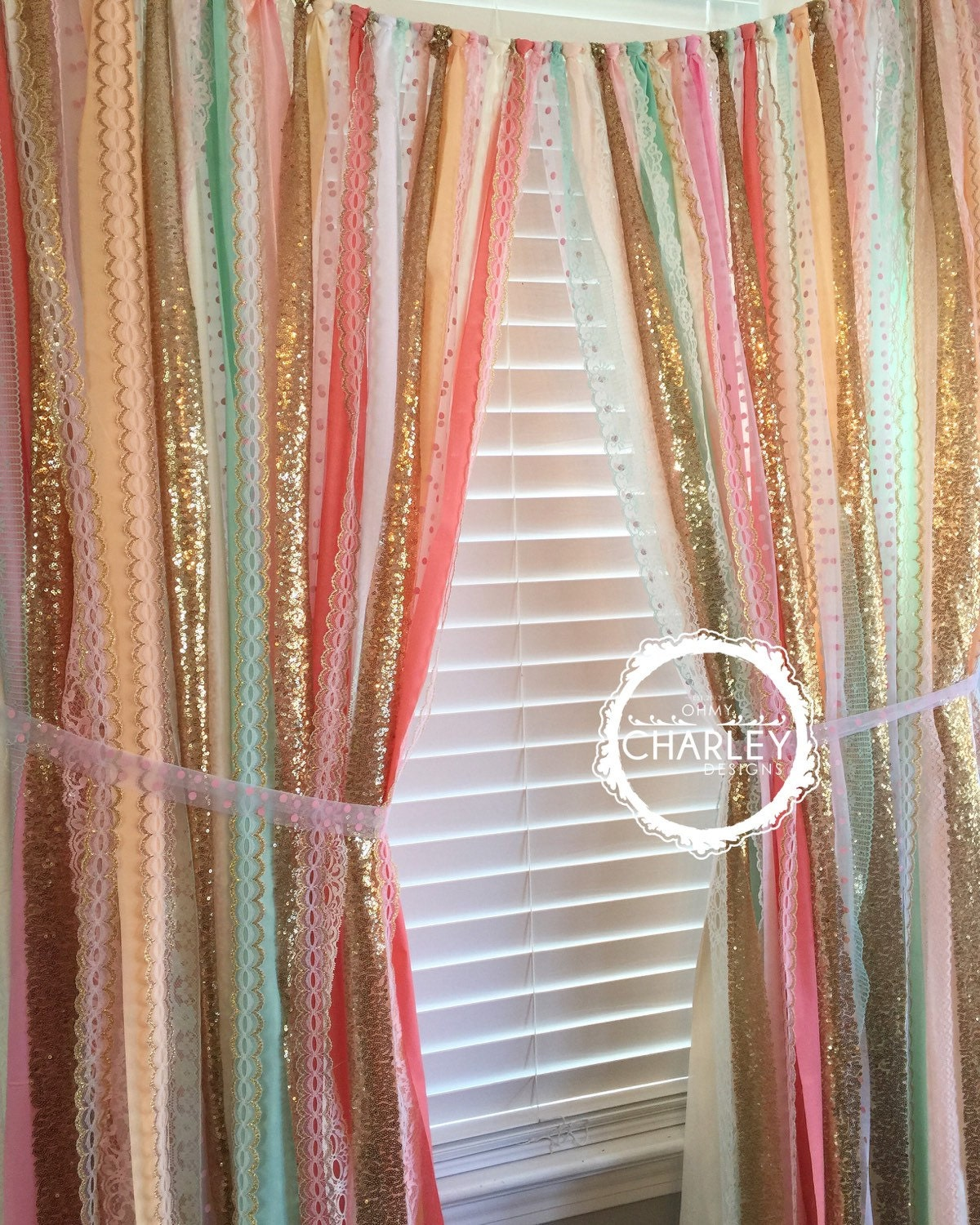 Sherbet Blends With Gold Sparkle Sequin Garland Curtain With