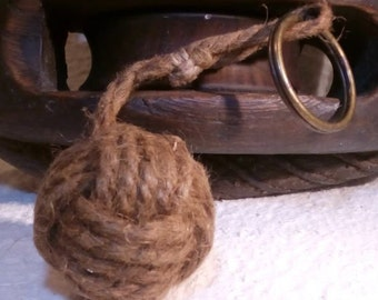 "Keychain ""Coil cone"" old rope and bronze ring."