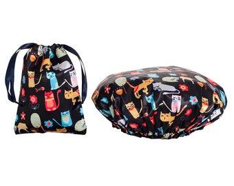 NEW Cats Waterproof Shower Cap Bag Bathroom Set Toiletries Travel Bundle