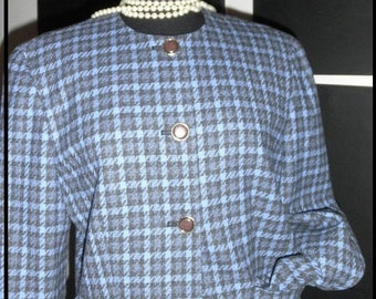 Perfect Vintage 70's 80's Pendleton woolen Mills black blue houndstooth suit pencil skirt size 12 ON SALE**