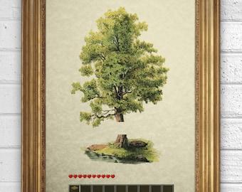 Video Game Vintage Illustration  - Minecraft -  Art Print