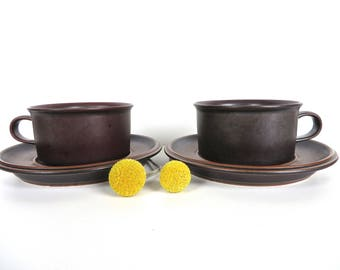 Arabia Finland Ruska Cup And Saucer Set, Mid Century Modern Stoneware, Ulla Procope Teacup And Saucer From Finland