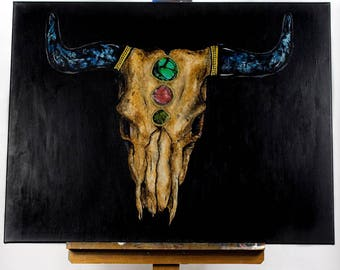 30x40 Bull Skull and Stones