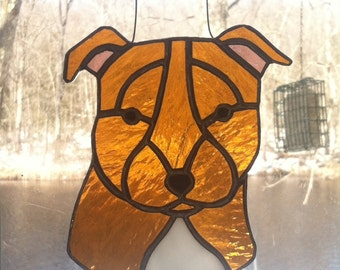 Pit Bull Stained Glass Suncatcher