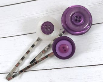 Bobby Pin Purple, Violet Hair Pins, Purple Button Bobby Pins,