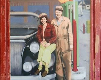 Framed print of a gas station scene