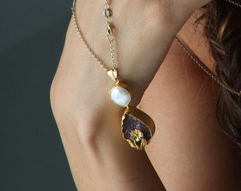 One of a Kind Drop Cut Raw Amethyst Pendant with a Flower and a Pearl