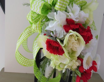 Lime & Red Lantern Swag, Bird Cage Flowers, Spring Decor, Summer Decor