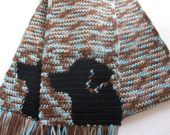 Black Labrador Retriever Scarf. Blue speckled, knit scarf with black lab dogs. Knitted Labrador gift