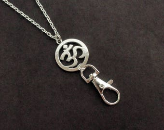Om Lanyard Silver, ID Badge Holder Necklace Ohm, Yoga Lanyard Prayer, Silver Lanyard Necklace Om, Fashion Lanyard Unique, ID Lanyard for Her