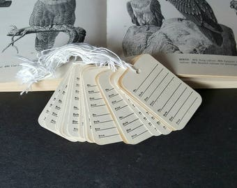 Set of 20 Vintage Paper Tags, Clothing Sales Tags With Attached Strings, Two Piece Perforated Tags, Aged Patina, Unused